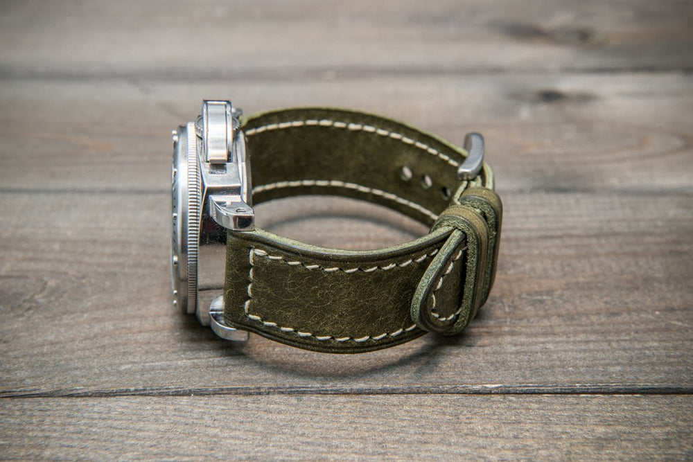 Badalassi Carlo, Pueblo Olive leather watch strap, hand-stitched, two leather keepers, handmade in Finland - finwatchstraps