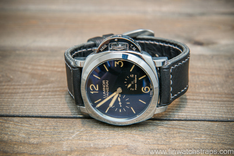 Badalassi Carlo Wax leather watch strap. Nero color. Handmade in Finland. - finwatchstraps