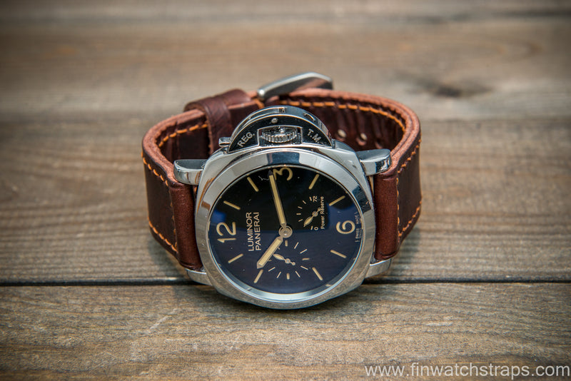 Badalassi Carlo Wax leather watch strap. Tobacco color. Handmade in Finland.