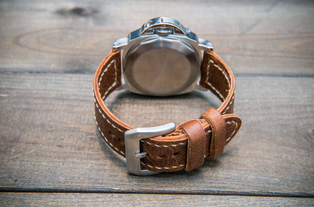 Reindeer leather watch band, Vintage Brown, hand-stitched, two leather keepers, handmade in Finland - finwatchstraps