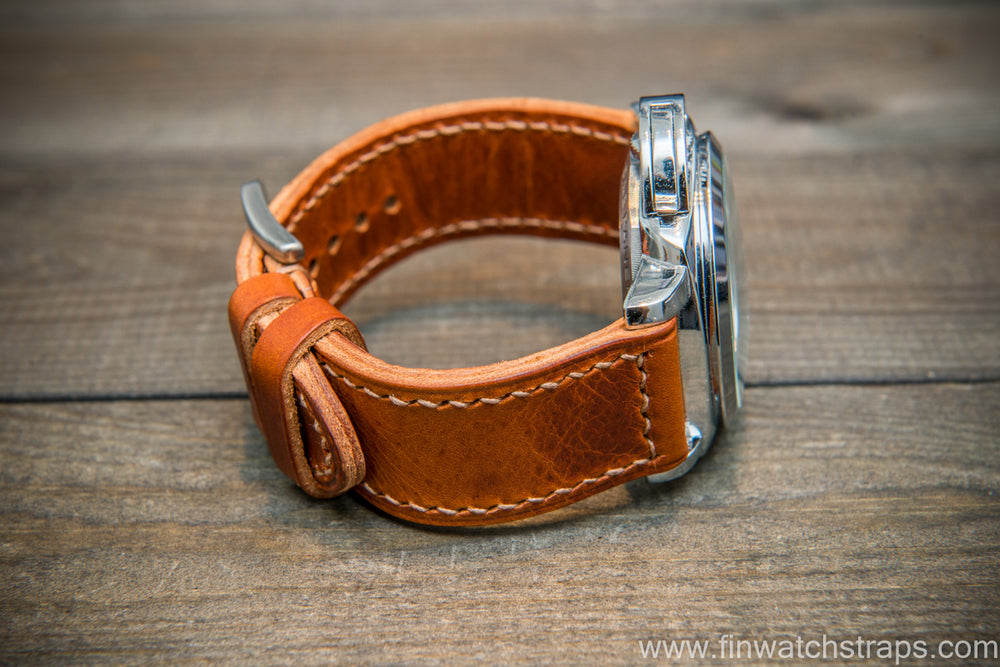 Badalassi Carlo Wax leather watch strap. Cognac color. Handmade in Finland. - finwatchstraps