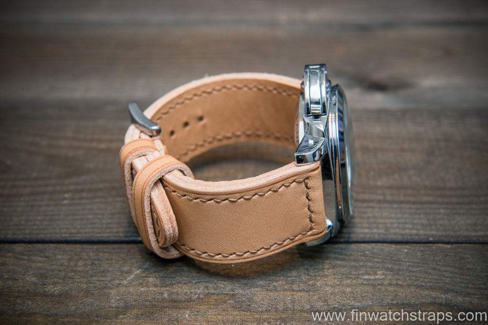 Panerai Italian Vachetta Oil Tan leather hand stitched watch band. Naturale color. Handmade in Finland. - finwatchstraps