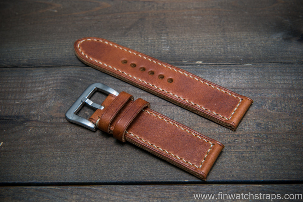 Badalassi Carlo Wax leather watch strap. Olmo color. Handmade in Finland. - finwatchstraps