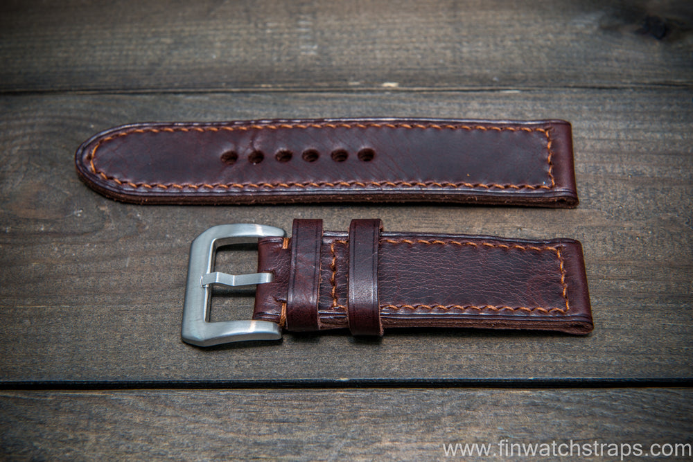 Badalassi Carlo Wax leather watch strap. Tobacco color. Handmade in Finland. - finwatchstraps