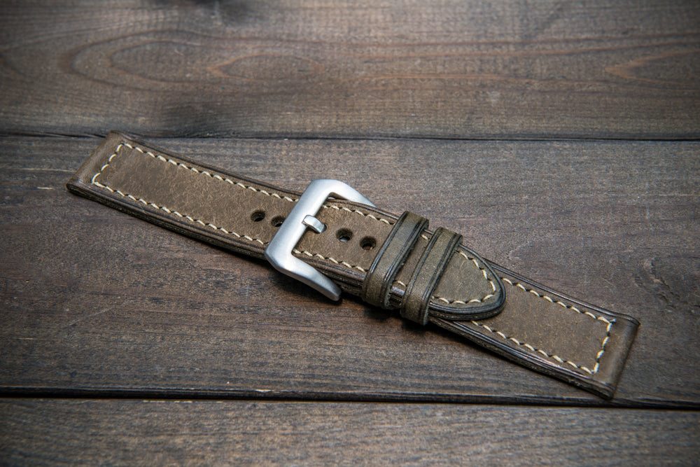 Badalassi Carlo, Pueblo Grigio leather watch strap, hand-stitched, two leather keepers, handmade in Finland - finwatchstraps