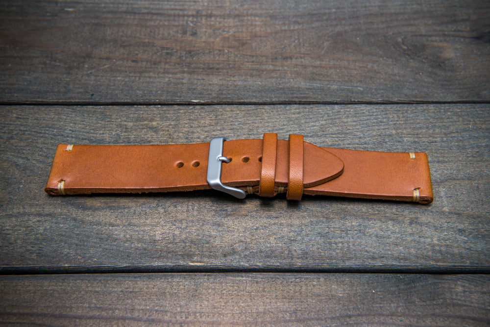 Walpier Buttero congac leather watch strap. Hand-made to order in Finland. - finwatchstraps