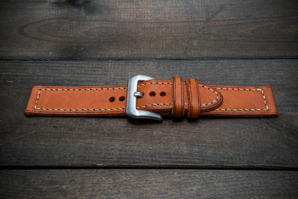 Olmo Badalassi leather watch strap, hand-stitched, two leather keepers, handmade in Finland