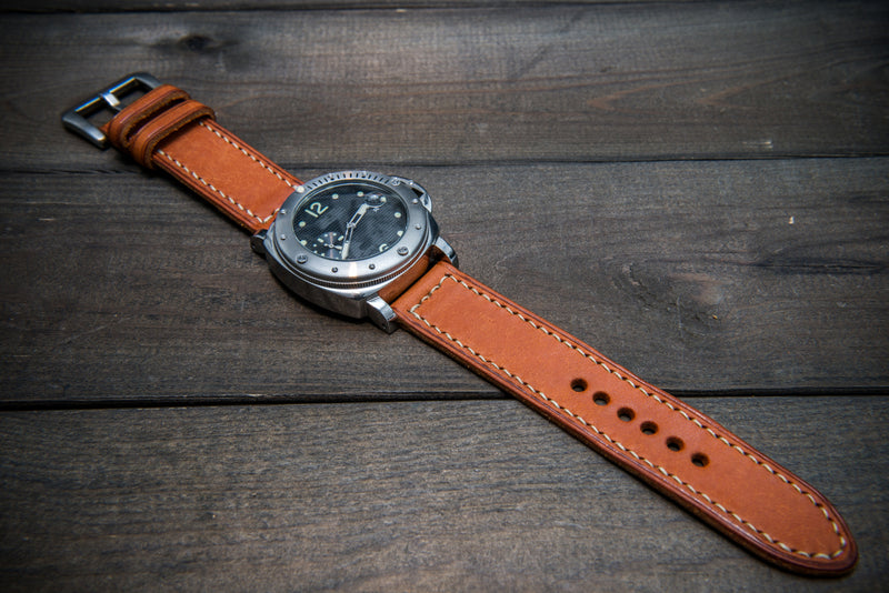 Olmo Badalassi leather watch strap, hand-stitched, two leather keepers, handmade in Finland - finwatchstraps