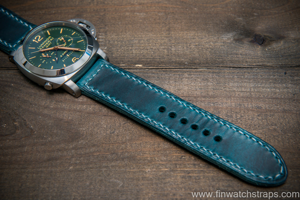 Badalassi Carlo Wax leather watch strap. Ortensia color. Handmade in Finland. - finwatchstraps
