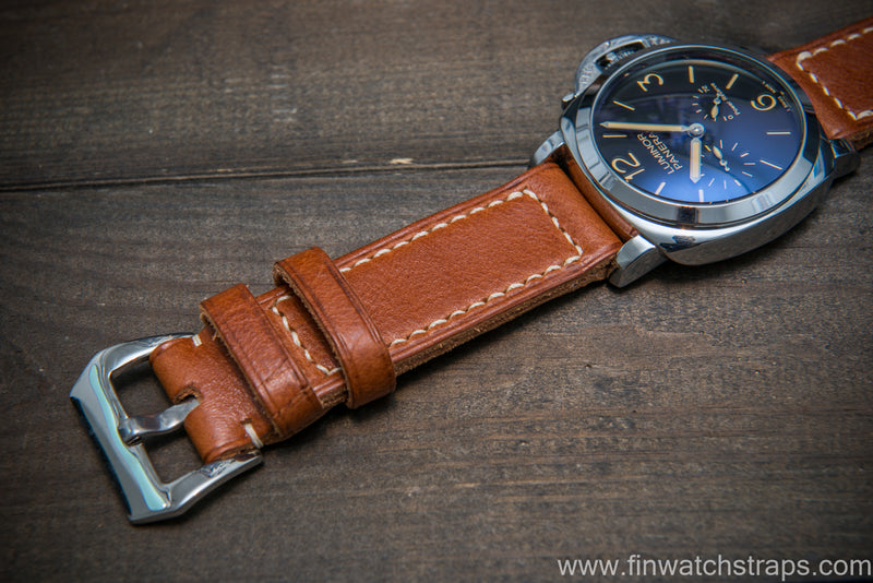 Panerai Italian Vachetta Oil Tan leather hand stitched watch band. Ranger cognac color. Handmade in Finland. - finwatchstraps