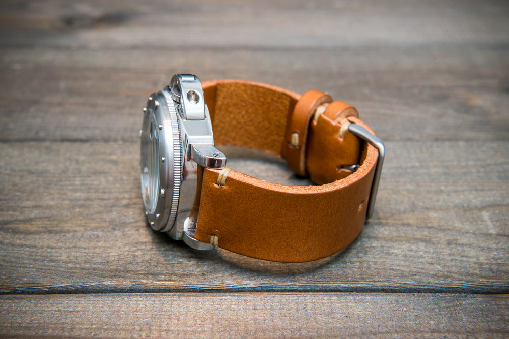 Walpier Buttero congac leather watch strap. Hand-made to order in Finland.