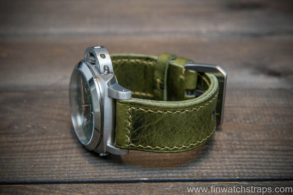 Badalassi Carlo Wax leather watch strap. Oliva color. Handmade in Finland. - finwatchstraps