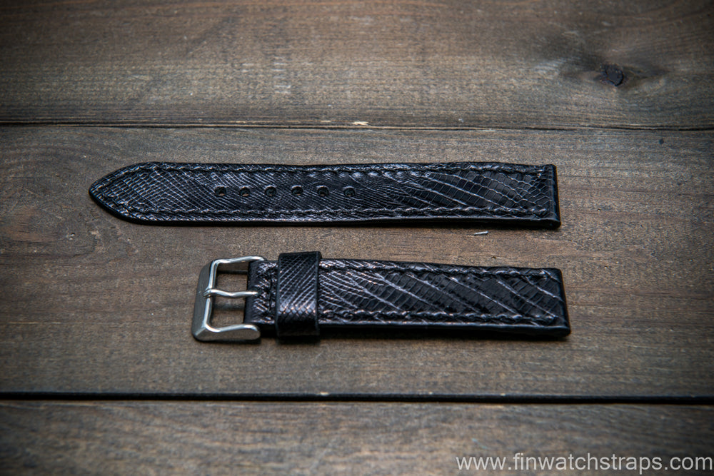 Lizard leather watch strap, Black color - finwatchstraps