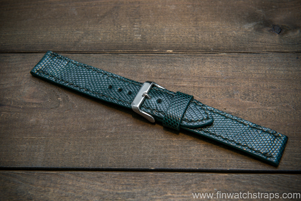 Lizard leather watch strap, Green color - finwatchstraps