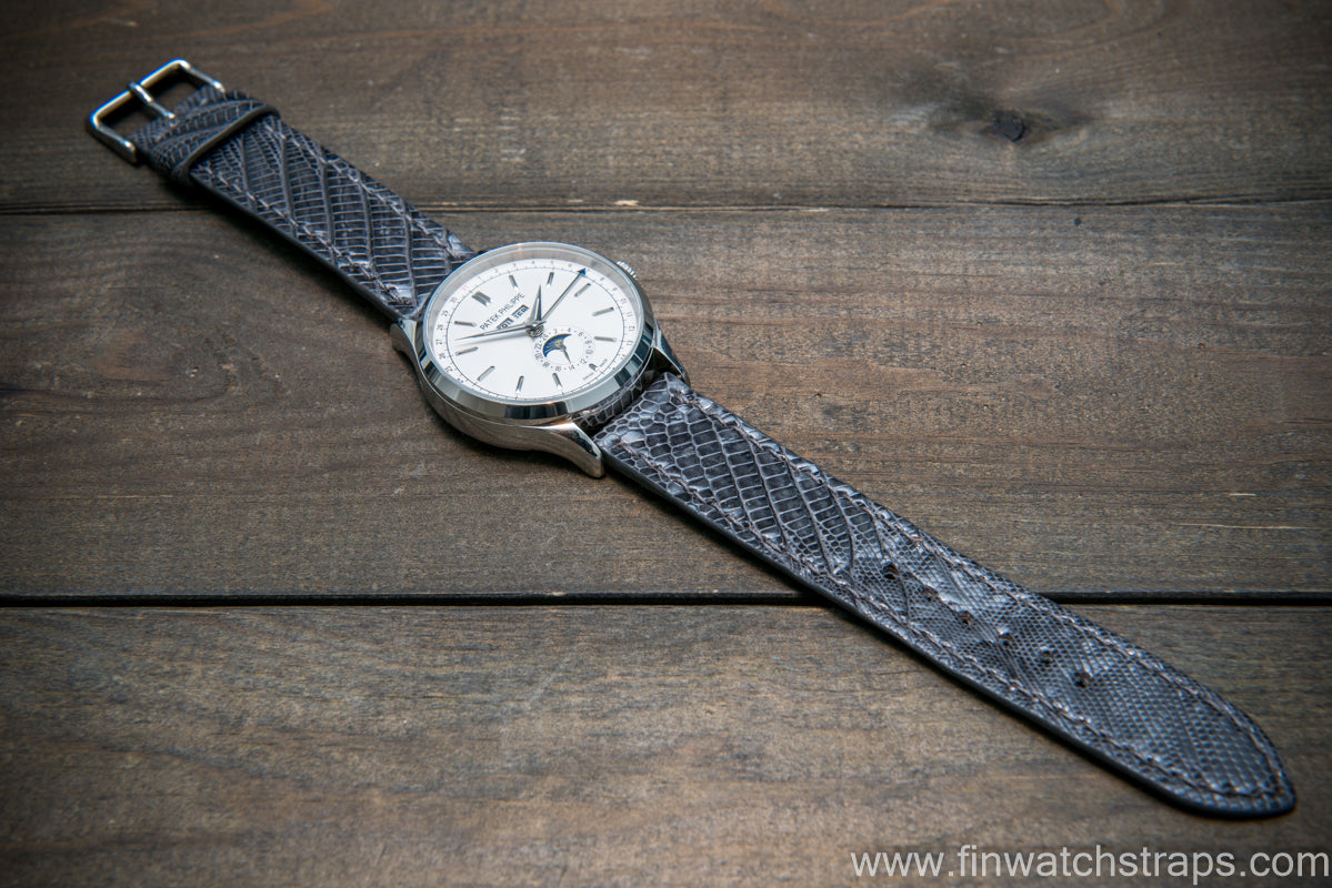 Lizard leather watch strap, Grey color - finwatchstraps