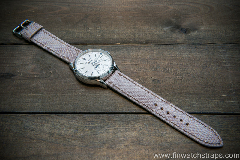Lizard leather watch strap, Beige color - finwatchstraps