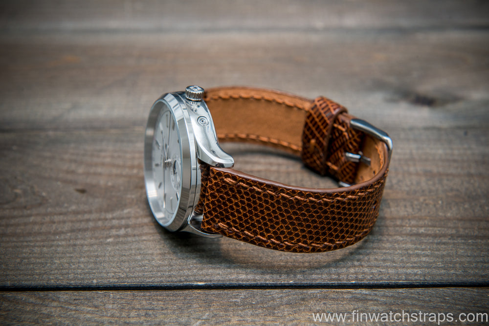 Lizard leather watch strap, Brown color - finwatchstraps