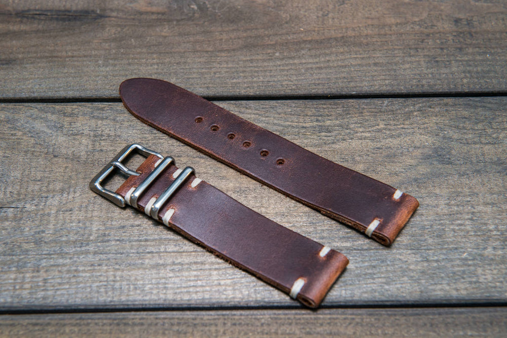 Phantom leather watch strap, handmade in Finland - 16mm, 17 mm, 18mm, 19mm, 20mm, 21 mm, 22mm, 23 mm, 24mm.