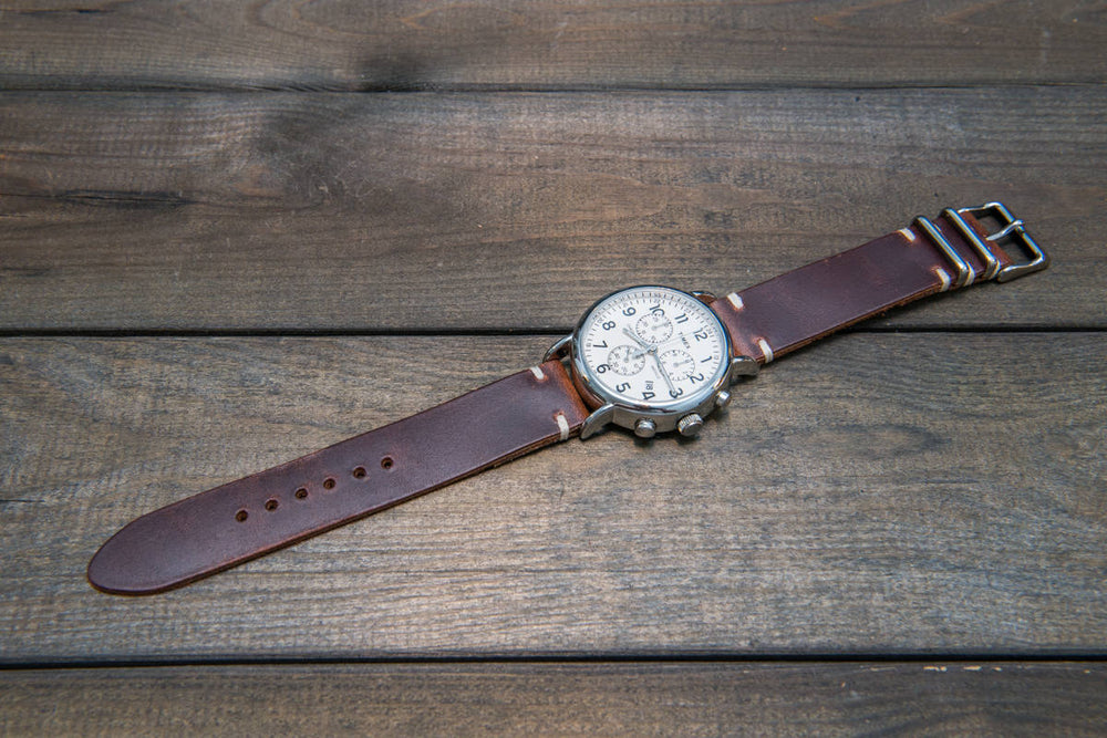 Phantom leather watch strap, handmade in Finland - 16mm, 17 mm, 18mm, 19mm, 20mm, 21 mm, 22mm, 23 mm, 24mm. - finwatchstraps