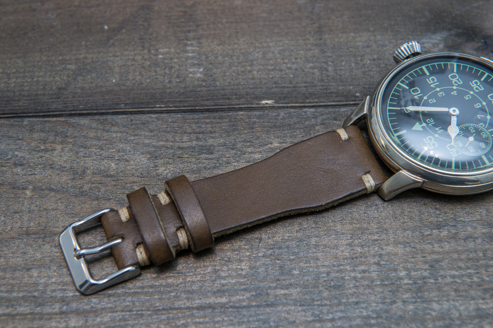 Pilot Badalassi Leather Watch Strap, Aviator model, Military style tapered model - finwatchstraps