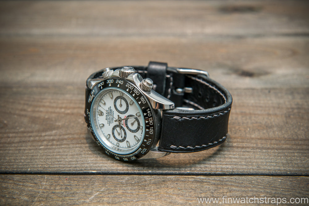 Badalassi Carlo Wax leather watch strap. Black color. Handmade in Finland. - finwatchstraps