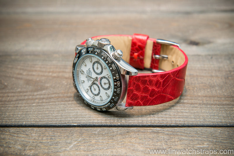 Ostrich legs leather watch strap, Glazed Red color, handmade in Finland, 10-26 mm - finwatchstraps