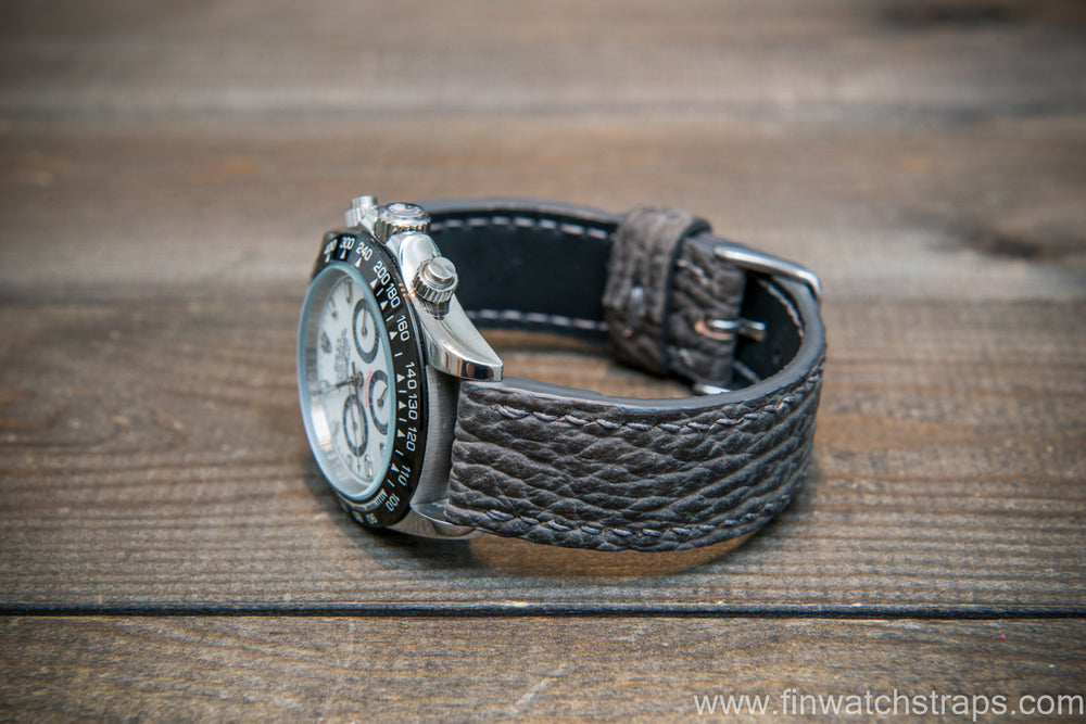Shark leather watch strap, Grey matte - finwatchstraps