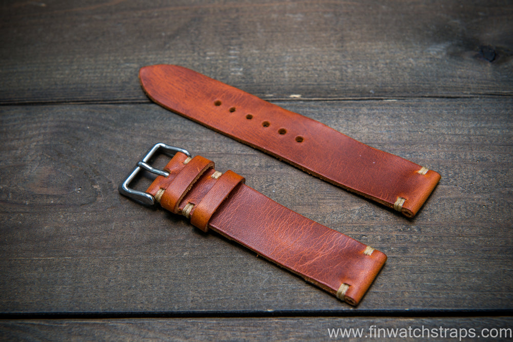Badalassi Olmo Wax leather watch strap. Hand-made to order in Finland. - finwatchstraps