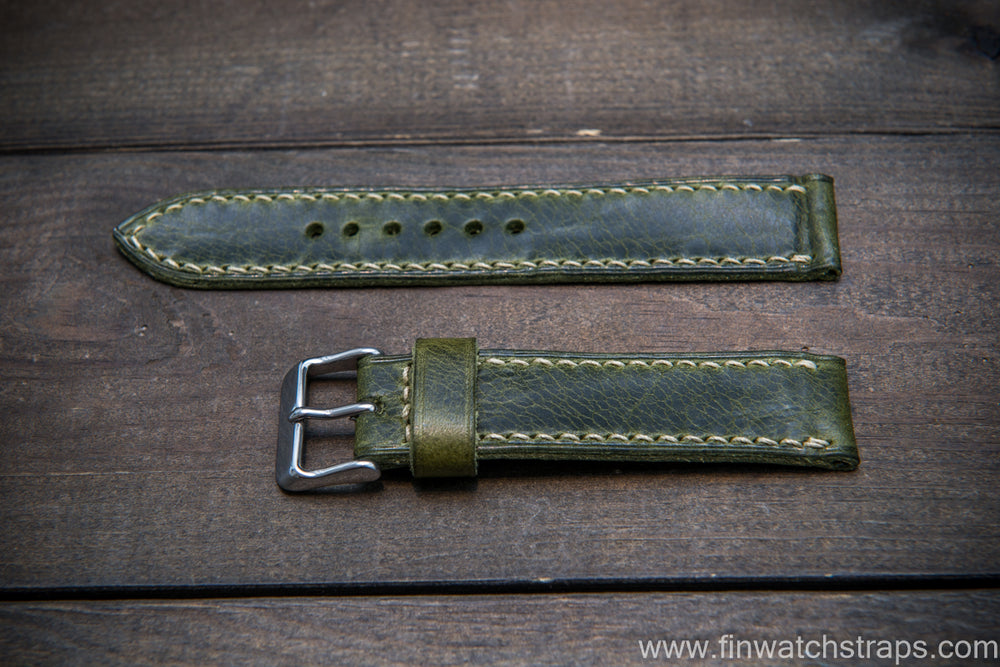 Badalassi Carlo Wax leather watch strap. Green color. Handmade in Finland. - finwatchstraps