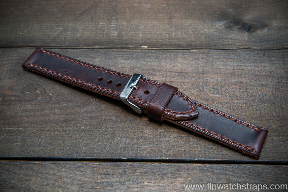 Badalassi Carlo Wax leather watch strap. Dark Brown color. Handmade in Finland. - finwatchstraps