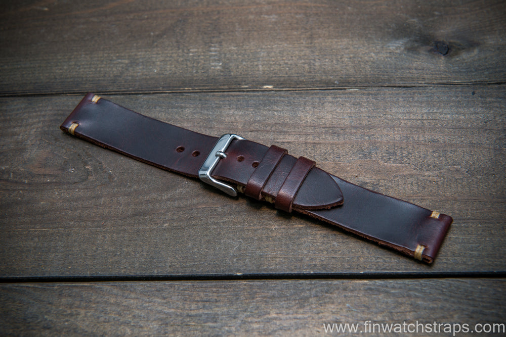 Badalassi Tobacco Wax leather watch strap. Hand-made to order in Finland. - finwatchstraps