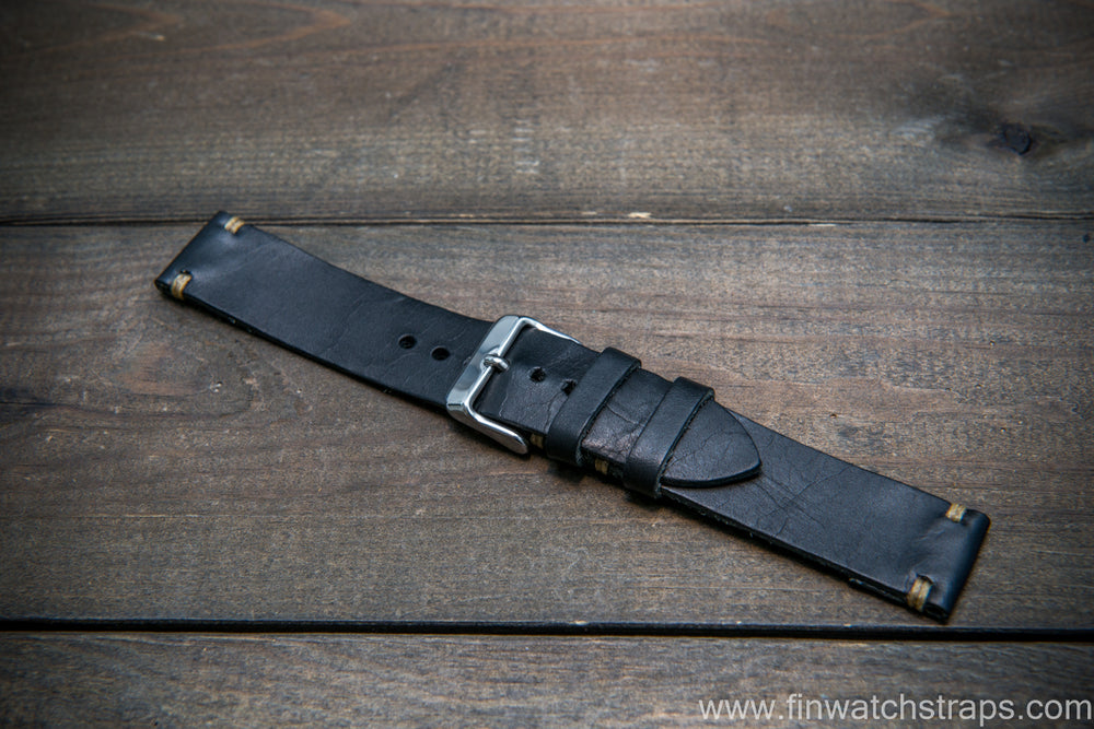 Badalassi Black Wax leather watch strap. Hand-made to order in Finland. - finwatchstraps