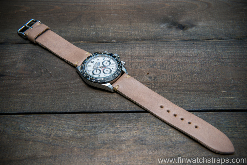 Buttero leather watch strap (beige), handmade in Finland, 10-26 mm - finwatchstraps