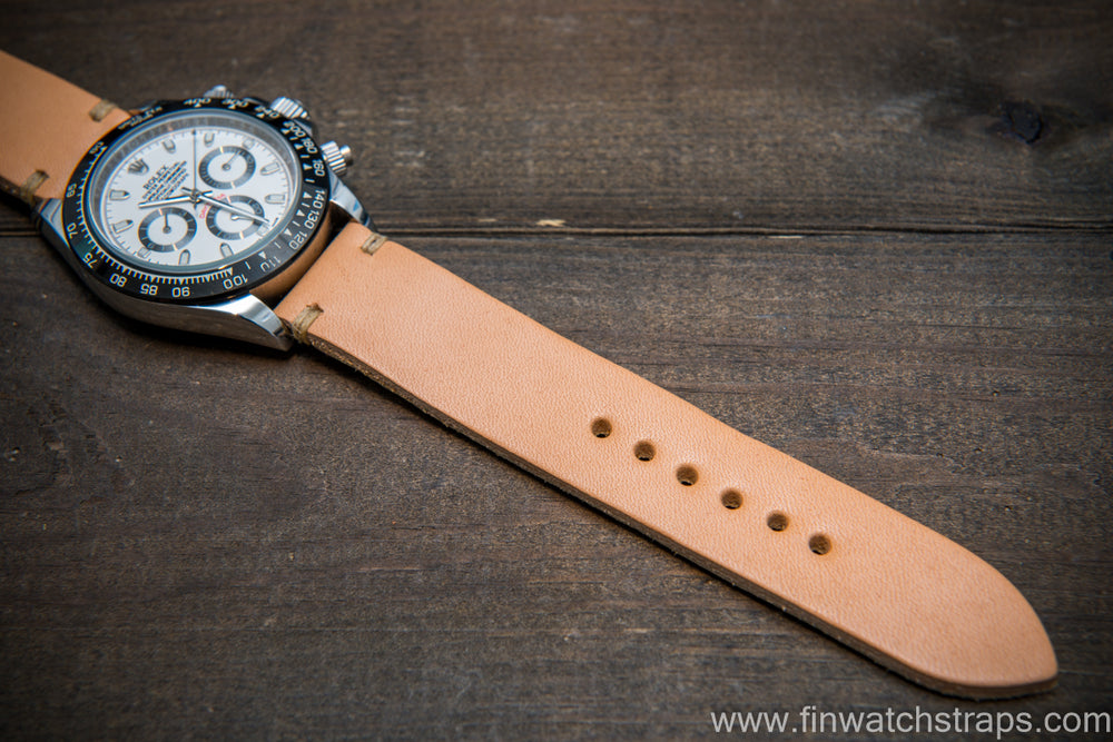 Vachetta leather watch strap. Natural color. Handmade in Finland. - finwatchstraps