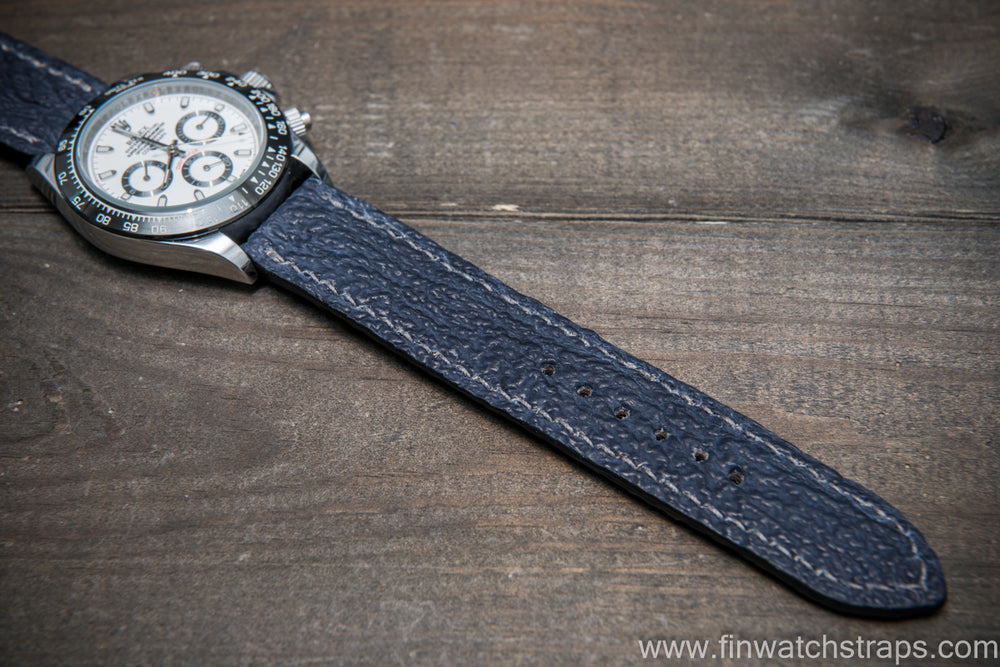 Shark leather watch strap, Blue matte - finwatchstraps