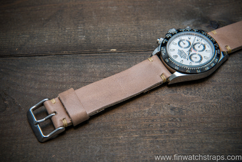 Buttero leather watch strap (beige), handmade in Finland, 10-26 mm