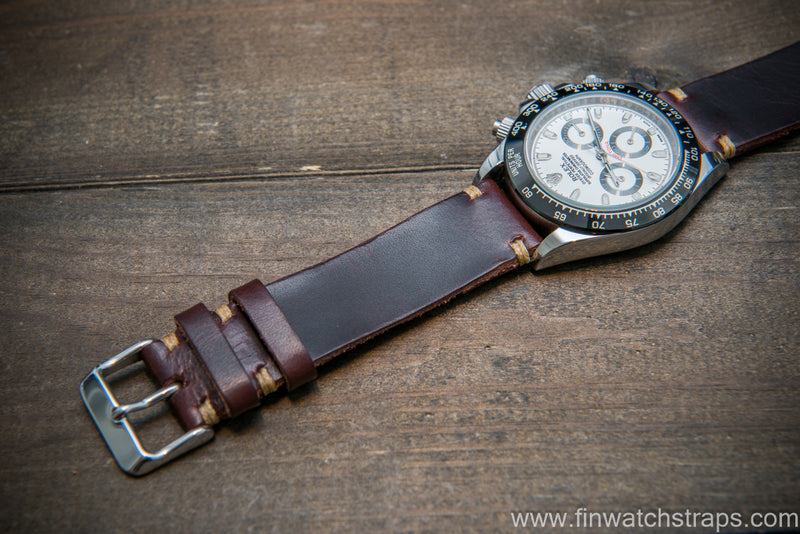 Badalassi Tobacco Wax leather watch strap. Hand-made to order in Finland.