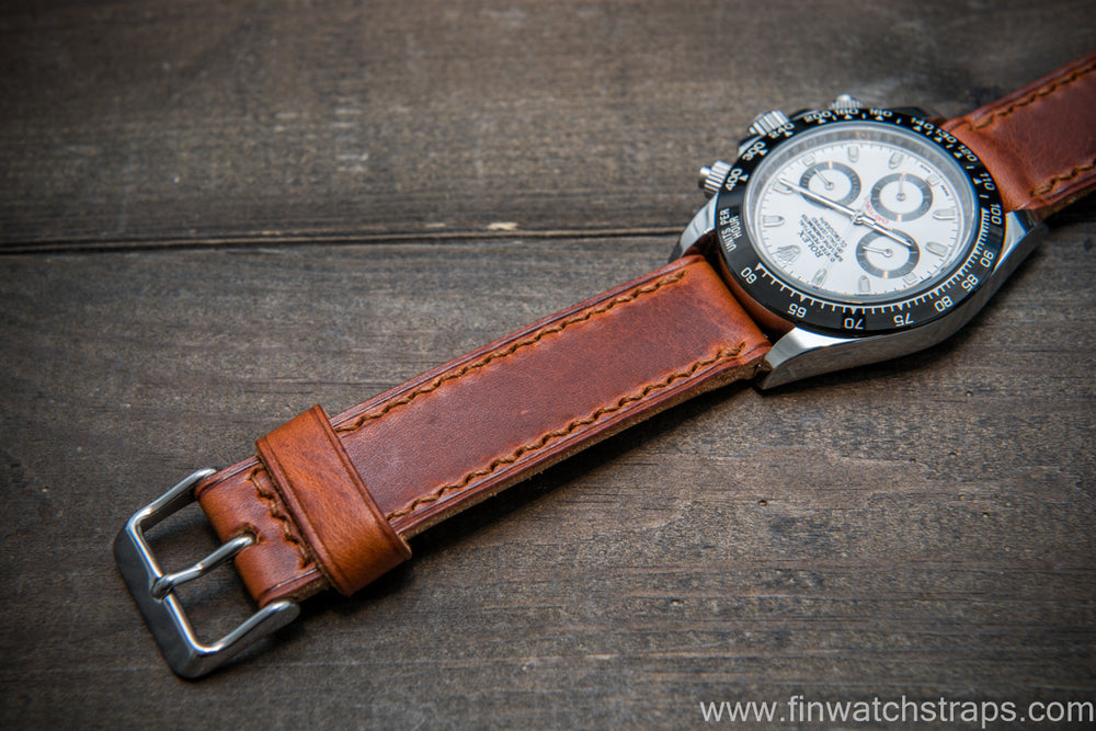 Badalassi Carlo Wax leather watch strap. Brown color. Handmade in Finland. - finwatchstraps