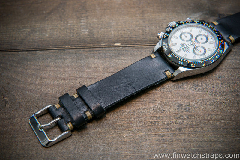 Badalassi Black Wax  leather watch strap. Hand-made to order in Finland.