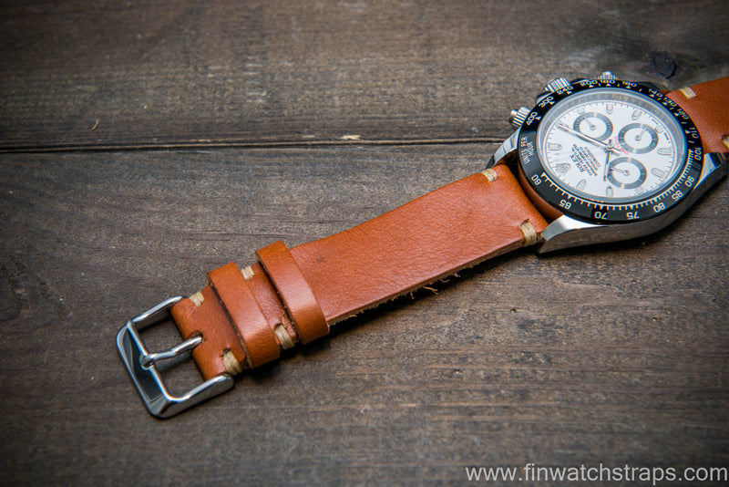 Vachetta leather watch strap. Ranger cognac color. Handmade in Finland. - finwatchstraps