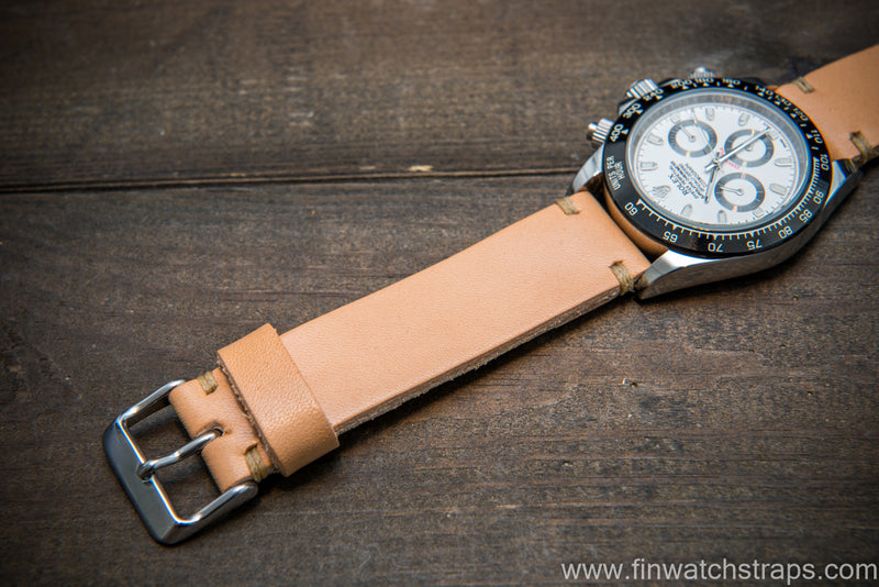 Vachetta leather watch strap. Natural color. Handmade in Finland.