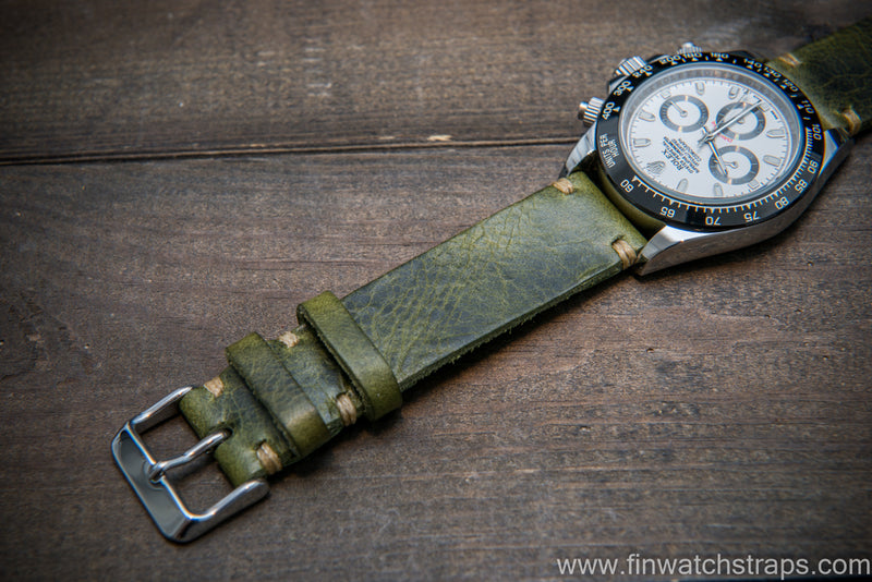 Badalassi Oliva Wax leather watch strap. Hand-made to order in Finland.