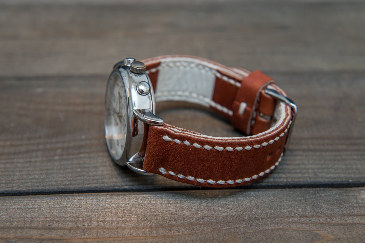 Horween Rust Inferno Waterproof  leather, hand stitched watch band,  handmade in Finland - 18mm, 19 mm, 20mm, 21 mm, 22mm, 23 mm, 24mm, 25 mm, 26 mm.