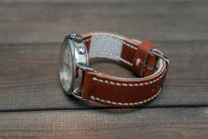 Horween Rust Inferno Waterproof  leather, hand stitched watch band,  handmade in Finland - 18mm, 19 mm, 20mm, 21 mm, 22mm, 23 mm, 24mm, 25 mm, 26 mm. - finwatchstraps
