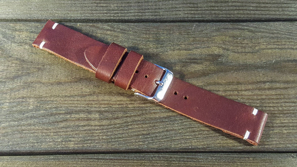 Sherman Brown waxed leather watch strap, handmade in Finland - 16mm, 17 mm, 18mm, 19 mm, 20mm, 21 mm, 22mm, 23 mm, 24mm, 25 mm, 26mm. - finwatchstraps