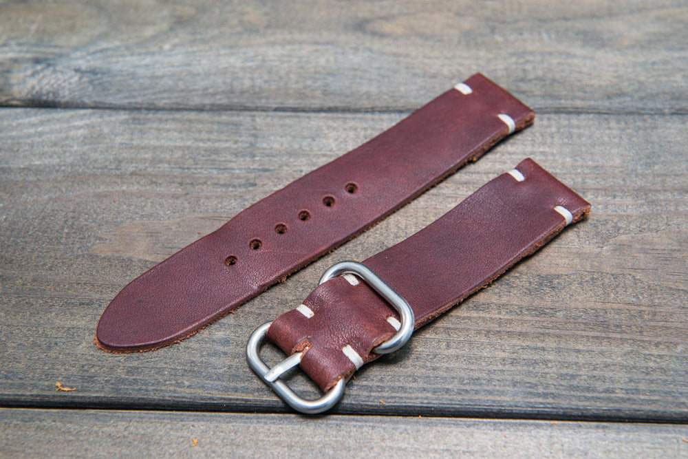 Sherman waxed leather watch strap, handmade in Finland - 16mm, 17 mm, 18mm, 19mm, 20mm, 21 mm, 22mm, 23 mm, 24mm. - finwatchstraps
