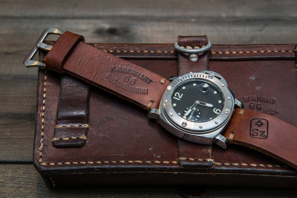 Vintage Swiss ammo watch band, thickness 2,5- 4 mm, made of army pouches, dates back to 1930th-1980th - finwatchstraps