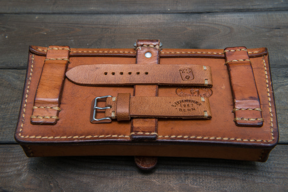 Vintage Swiss ammo watch band, thickness2,5- 4 mm, made of army pouches,  dates back to 1930th-1980th - finwatchstraps