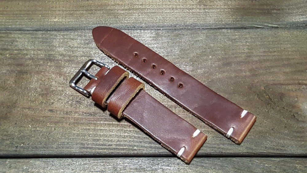 Tan Horween Chxl 6-7 oz leather watch strap, handmade in Finland - 16mm, 17 mm, 18mm, 19 mm, 20mm, 21 mm, 22mm, 23 mm, 24mm, 25 mm, 26mm. - finwatchstraps