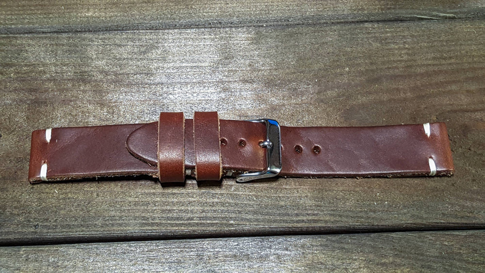 Tan Horween Chxl 6-7 oz leather watch strap, handmade in Finland - 16mm, 17 mm, 18mm, 19 mm, 20mm, 21 mm, 22mm, 23 mm, 24mm, 25 mm, 26mm.